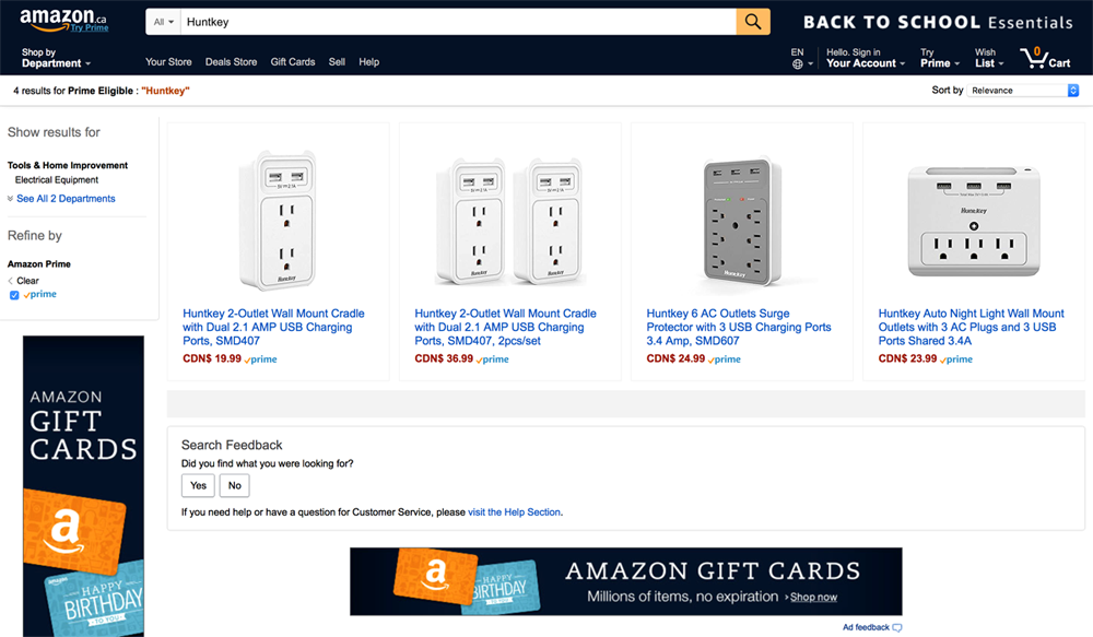 0823-01 Huntkey Wall Mount Series Power Strips Is Available on Amazon Canada